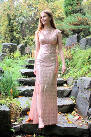 Champagne Pink LDS Modest Prom Dress Cap Sleeves