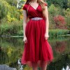 Red Tea Length Modest Prom Dress Sleeves