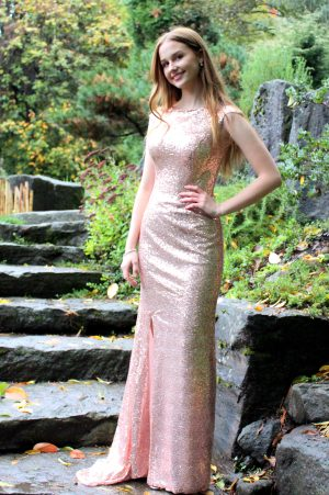Rose Gold Modest Prom Dress Sleeves