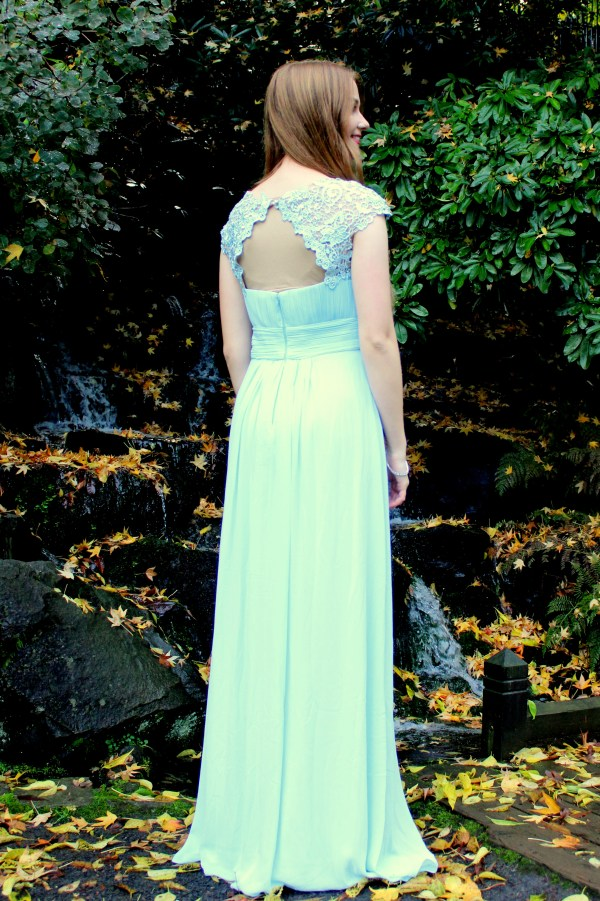 Blue Lace Modest Prom Dress Sleeves Back View