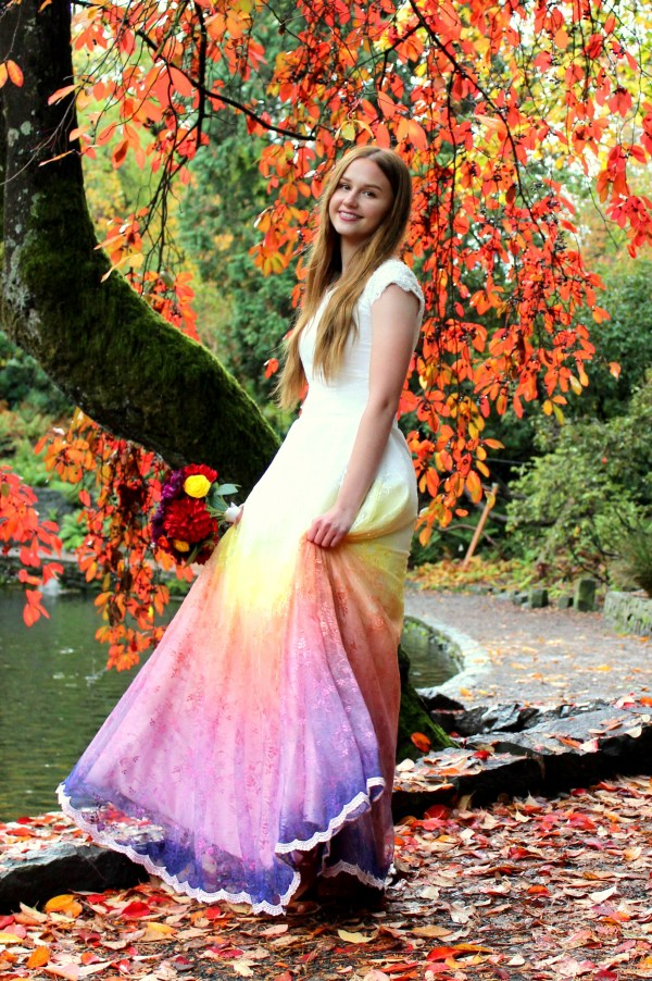 Rainbow Ombre LDS Wedding Dress with Sleeves