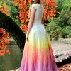 Rainbow Ombre Wedding Dress with Sleeves Corset Back