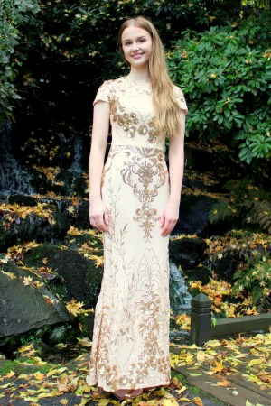 Vintage Indpired Gold Sequin Modest Prom Dress Sleeves