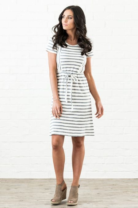 Black White Striped Modest Dress