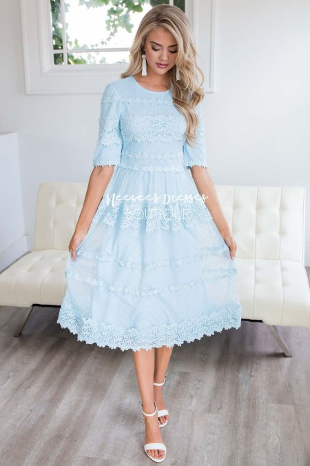 Blue Lace Modest Dress