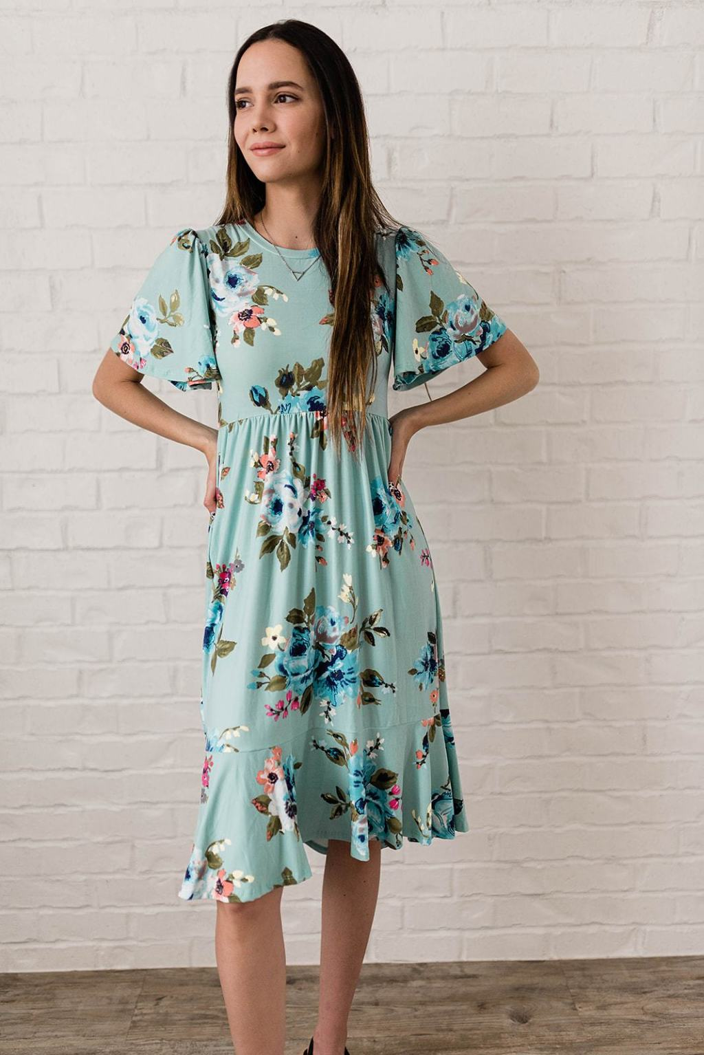 Cleo Madison Modest Blue Floral Dress