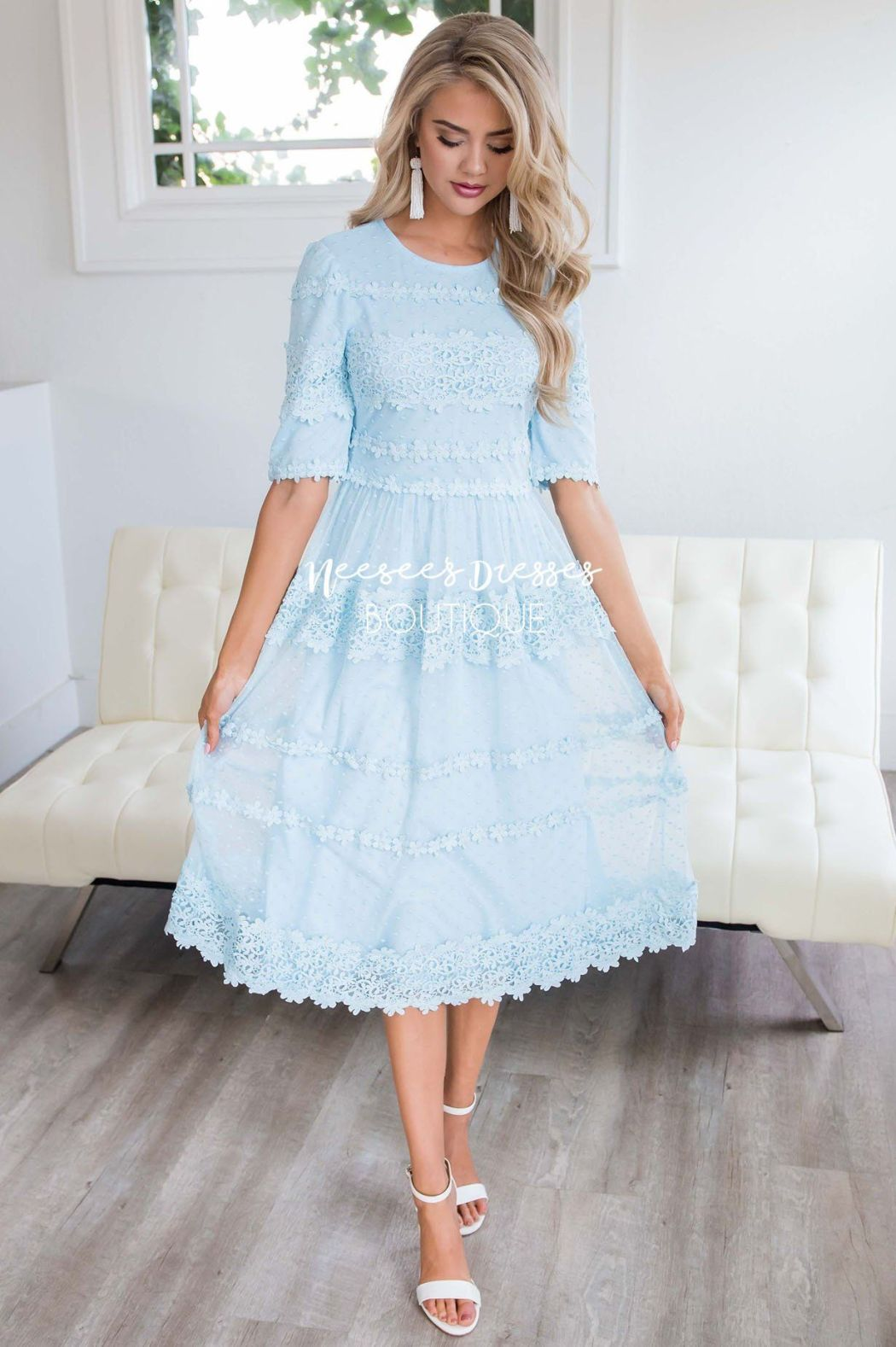 Neesees Dresses Modest Pale Blue Lace Dress