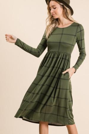 Modest Pop Holiday Checked Dress Olive