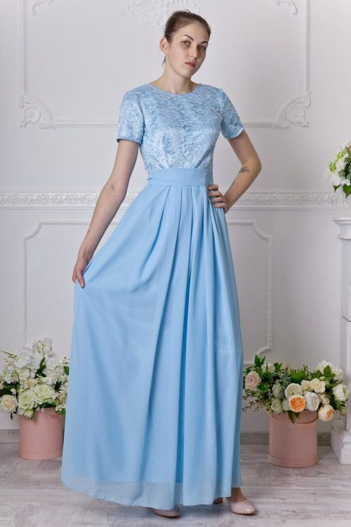 Baby Blue Long Lace Modest Prom Dress
