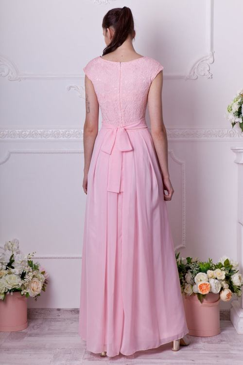 Back Blush Pink Long Lace Modest Prom Dress Cap Sleeves