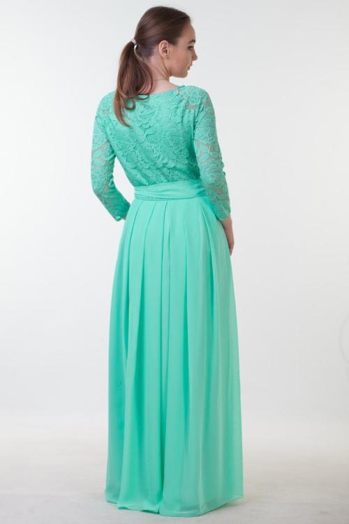 Back Mint Green Lace Modest Prom Dress