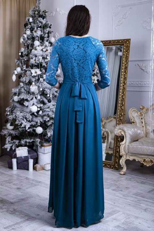 Back Teal Lace Modest Prom Dress Long Sleeves
