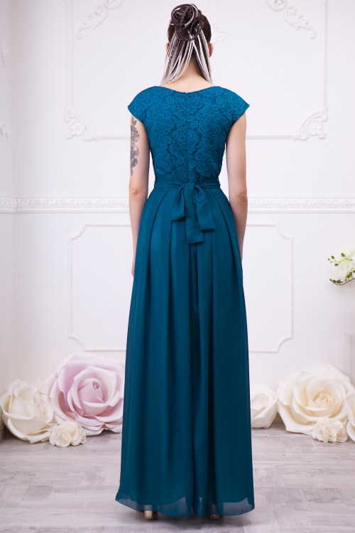 Back of Teal Lace Modest Prom Dress