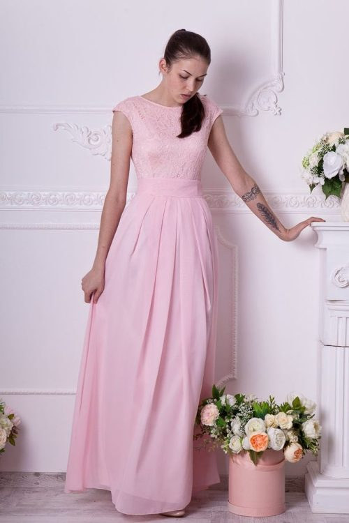 Blush Pink Long Lace Modest Prom Dress Cap Sleeves