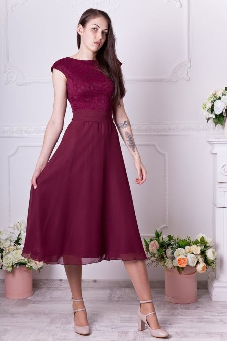 Burgundy Lace Tea Length Modest Homecoming Formal