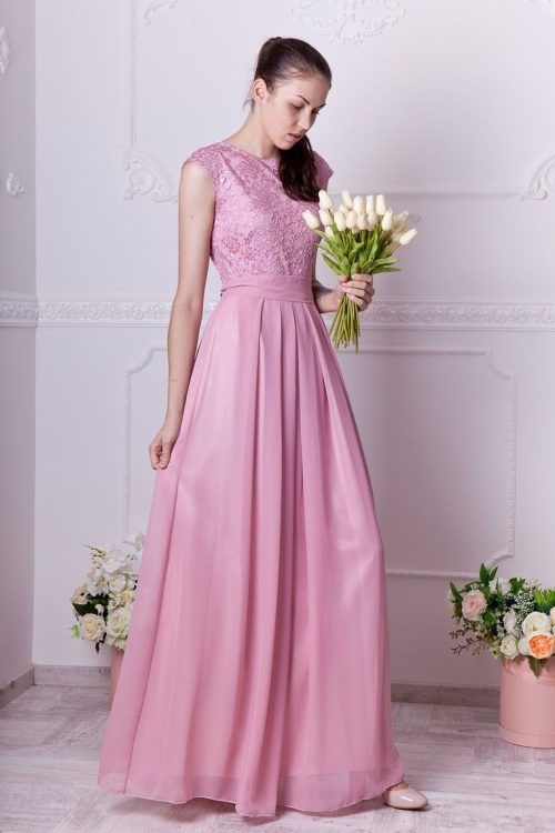 Flora Dusty Rose Lace Modest Prom Dress