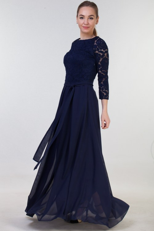 Rosalynn Navy Blue Modest Prom Dress Sleeves