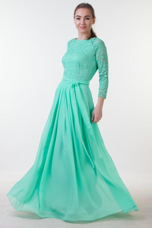 Mint Green Long Lace Modest Prom Dress