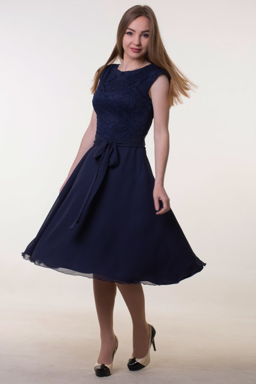 Navy Blue Lace Tea Length Cap Sleeve Modest Dress