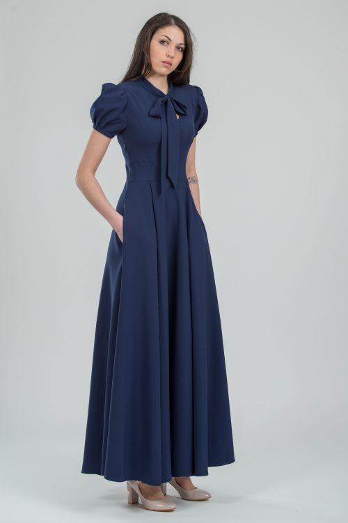 Navy Blue Vintage Inspired Modest Formal