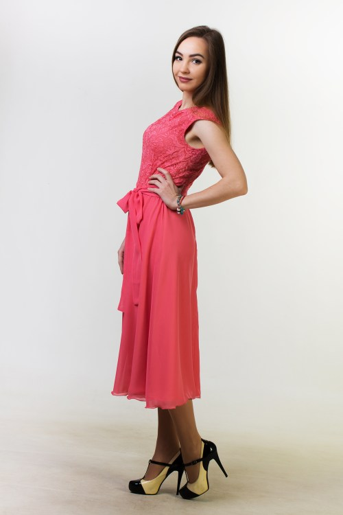Side Coral Lace Modest Homecoming Dress Cap Sleeves