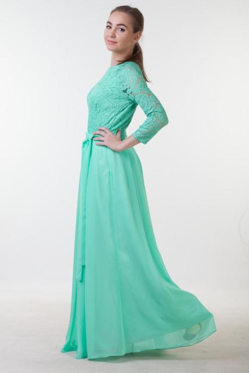 Side View Mint Green Lace Modest Prom Dress