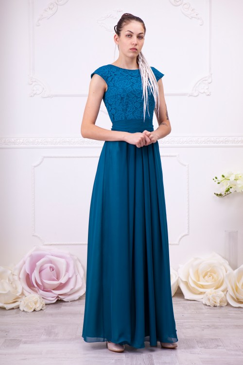 Teal Lace Modest Prom Dress Formal Sleeves