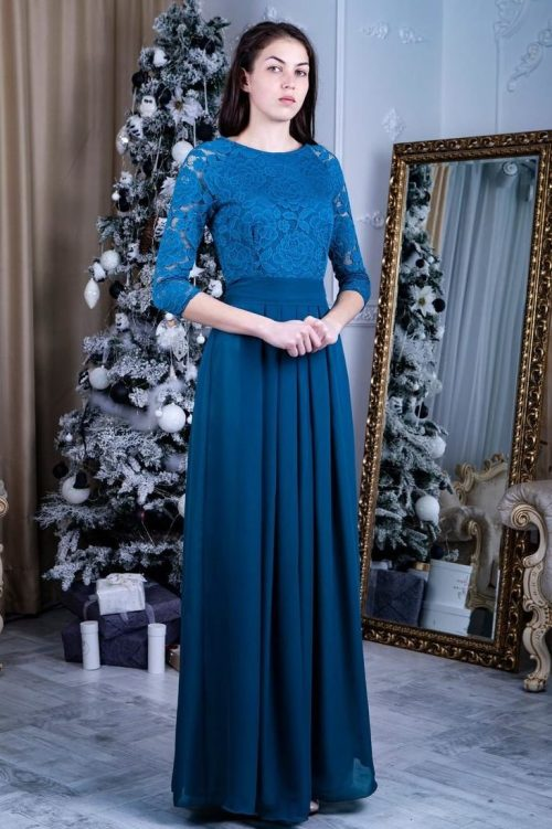 Teal Modest Lace Prom Dress Long Sleeves