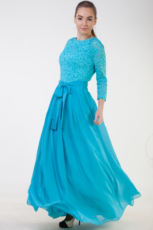 Athena Turquoise Lace Modest Prom Dress Sleeves