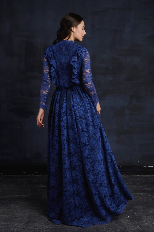 Close Up Blue Lace Modest Prom Dress