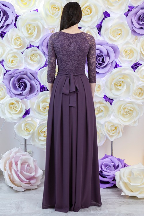 Back of Melissa Dusty Purple Modest Prom Dress Sleeves