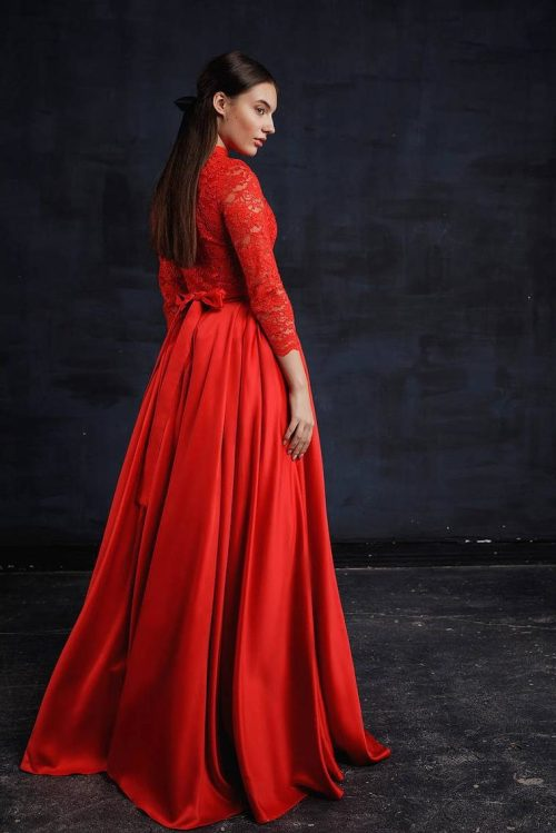 Back Two Piece Red Lace Silk Modest Prom Dress