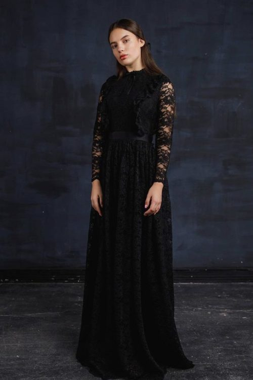 Black Lace Modest Prom Dress Long Sleeves