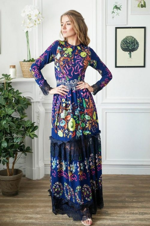 Blue Colorful Flora Long Modestl Prom Dress Long Sleeves