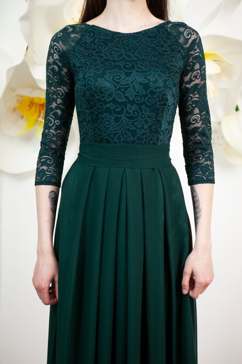 Close Up Felicity Dark Green Lace Modest Prom Dress Sleeves