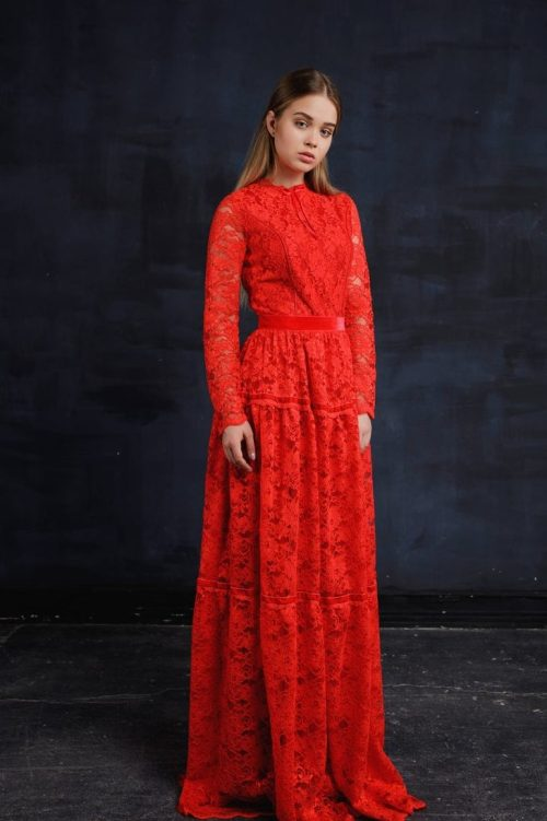 Front Red Lace Modest Prom Dress with Long Sleeves