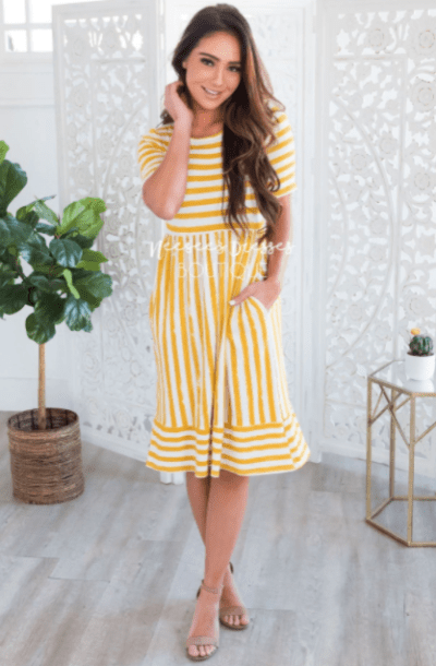 Neesee's Dresses Striped White and Yellow Modest Dress
