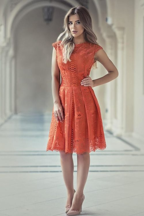 Orange Lace Modest Tea-Length Homecoming Dress