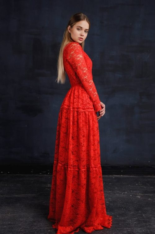 Red Lace Modest Prom Dress with Long Sleeves