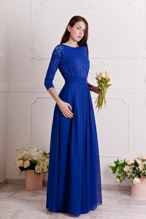 Skylar Cobalt Lace Modest Prom Dress