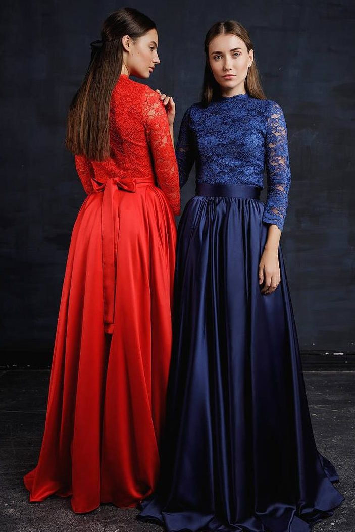 Two Piece Navy Blue Red Lace Silk Modest Prom Dress