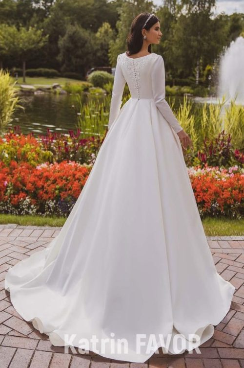 Back Train Ivory Taffeta Modest Wedding Dress Bodice Lace Appliques