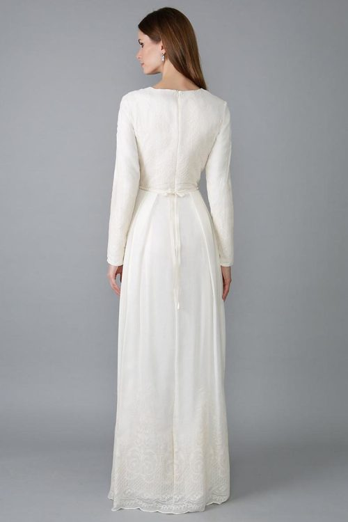 Back View Ivory Lace Sheath Skirt Tznius Modest Wedding Dress