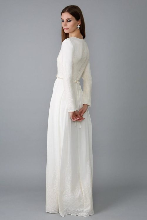 Back View Natural Silk Ivory Lace Sheath Skirt Tznius Modest Wedding Dress