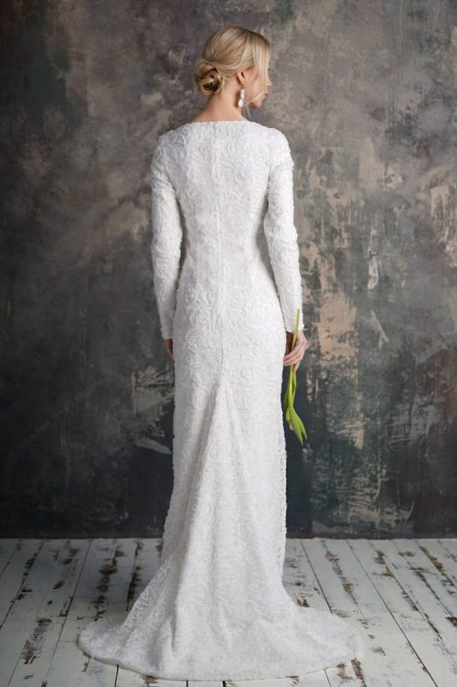 Back View White Sequin Mermaid Tznius Modest Wedding Dress