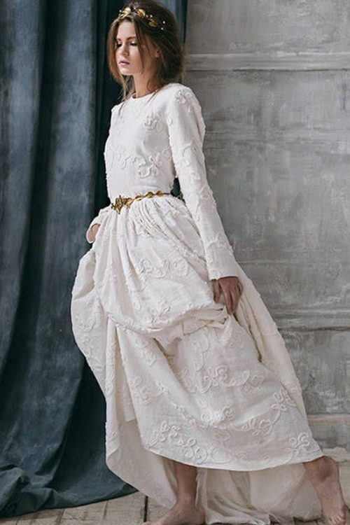 Boho Ivory Linen Tznius Modest Wedding Dress
