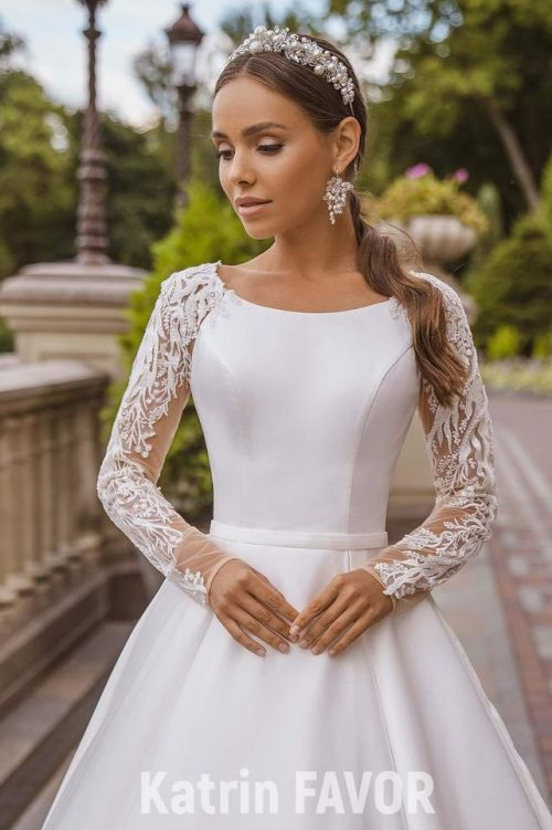 Front Detail White Taffeta Wedding Dress Beaded Lace Sleeves