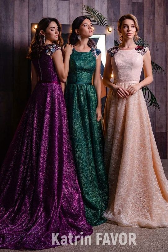 Hunter Dark Green Modest Prom Dress Flower Shoulder Detailing
