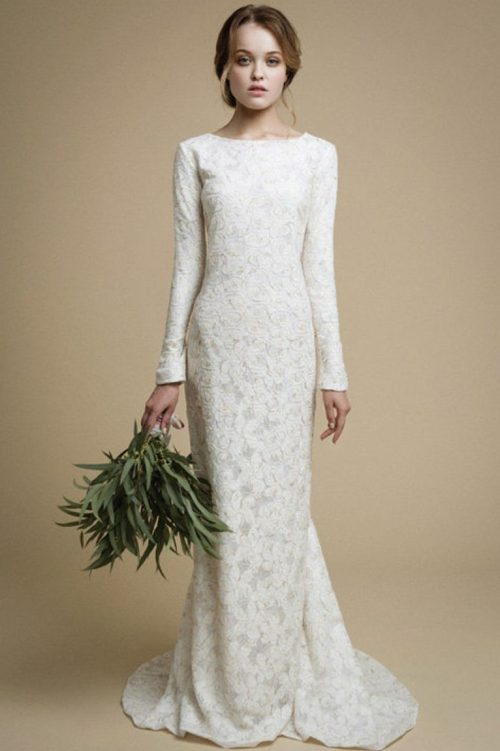 Ivory Lace Mermaid Tznius Modest Wedding Dress