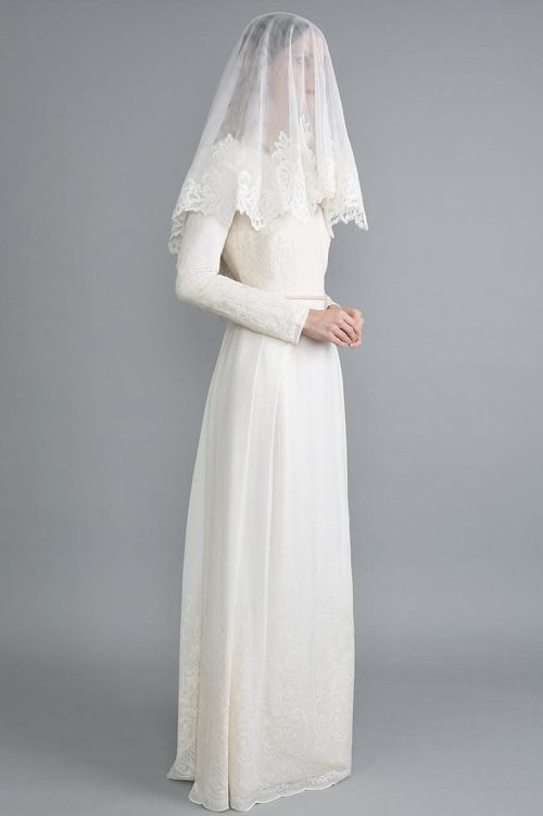 Ivory Lace Sheath Skirt Tznius Modest Wedding Dress Veil